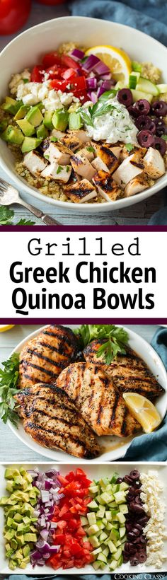 The best Greek Chicken Bowls! Made with a simple marinated Greek chicken, filled with quinoa and lots of fresh veggies then topped with Tzatziki.