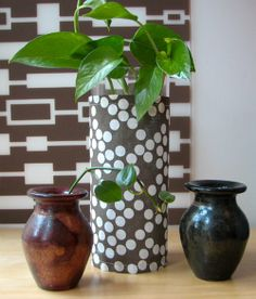 Easy fabric vase covers (one commenter also used gift wrap - easy and cheap for the holidays)