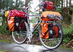 fully loaded touring bike. Bag placement is fantastic.