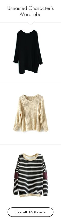 """""""Unnamed Character's Wardrobe"""" by living-in-ethereal-fantasy ❤ liked on Polyvore featuring tops, sweaters, dresses, jumper, loose fitting sweaters, loose fit sweater, bat sleeve sweater, knit top, loose sweaters and shirts"""