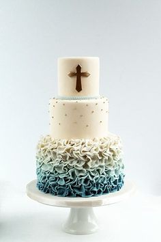 Christening or 1st Communion cake with ombre ruffles.