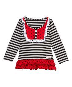 Gray & Red Polka Dot Ruffle Bib Top - Infant Toddler & Girls