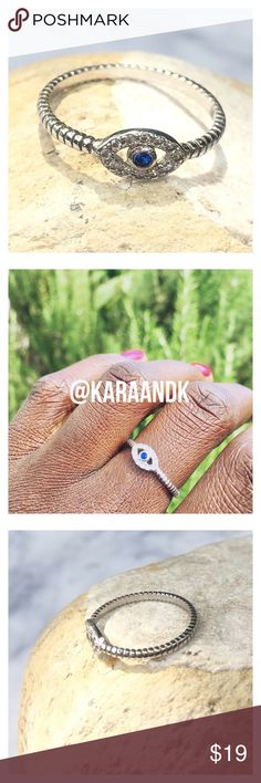 925 Sterling Silver Evil Eye Ring Super dainty 925 Sterling evil eye ring. Circle  ring. Sapphire blue center stone. Micro pave CZ stones. Nickel and lead compliant. Brand new. Price is firm unless bundled. Thank you 💕 Jewelry Rings