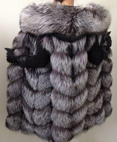 Jacket coat hood vest  fur silver fox