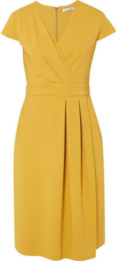 Max Mara Wrap-effect Stretch-jersey Dress - Yellow