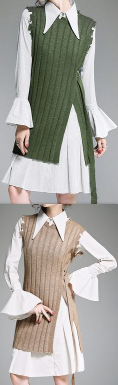 Bell-Sleeve Striped Shirt Dress with Knit Vest, Green