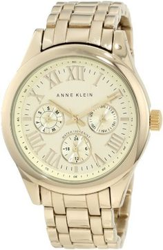 AK Anne Klein Women's AK/1006CHGB Gold-Tone Multi-Function Boyfriend Watch Anne Klein. $95.00. Champagne subdials featuring day, date and 24 hour functions. Light champagne, vertical brushed dial with gold-tone roman i, ii, iiii, v, viii, x & xi and markers at 3, 6 & 9 o'clock hours. Polished gold-tone adjustable link bracelet with two-button fold-over clasp. Large 38 mm round polished gold-tone case. Water-resistant to 30 M (99 feet)