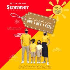 Giordano's offer is hot like summer-Buy 1 Get 1 Free on most items @ all stores in KSA till 5th June 2021 Summer Special, Got 1, Buy 1 Get 1, Highlights, June, Luminizer, Hair Highlights, Highlight