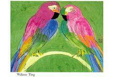 Walasse Ting, 2 Parrots on OneKingsLane.com