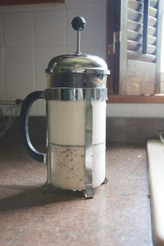 Brilliant! Use a French press instead of cheesecloth or nutmilk bags to strain homemade almond milk!