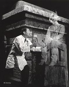 Imagineer and special effects master Yale Gracey chisels out some work while one of Marc Davis' spirits looks on (Walt Disney Imagineering) Disney Rides, Disney Parks, Disney Love, Disney Magic, Disney Stuff, Walt Disney Imagineering, Disney Artists, Vintage Disneyland, Disney Posters