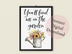 Gardening Art Printable   Gifts for Gardeners   Bedroom, Living Room, Kitchen Decor by TheArtPrintStudio on Etsy Room Kitchen, Kitchen Decor, Printable Art, Printables, Office Art, Garden Art, Online Printing, Gardening, Art Prints