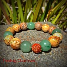 Picture Jasper Beaded Bracelet Gemstone Bracelet by FeelingCharmed, $18.00
