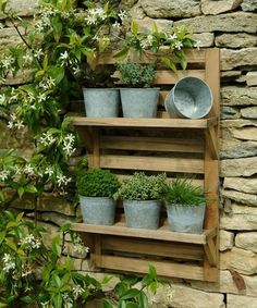 Wooden wall mounted herb rack & galvanised plant pots £42.95