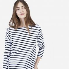 $45, small, grey and white striped-  The Heavyweight Tee - Everlane