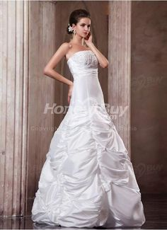 Taffeta Column Strapless Handmade Beading Bridal Gown