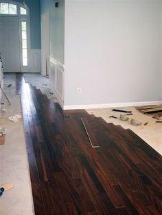 Love the dark wood! diy hardwood flooring - note: choose matte not glossy Installing Hardwood Floors, Engineered Hardwood Flooring, Diy Flooring, Flooring Types, Home Renovation, Home Remodeling, Diy Glue, Hardwood Floor Colors, Diy House Projects