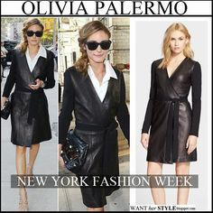 Olivia Palermo in black leather belted wrap dress by DVF, beige cutout sandals and black sunglasses