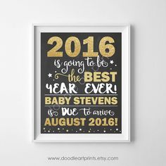 New Years Pregnancy Chalkboard Baby by DoodleArtPrints on Etsy