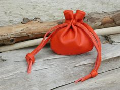 Leather pouch, Leather drawstring pouch, Leather bag, Pouch, Leather coin pouch, Orange leather bag, Shirlbcreationstoo