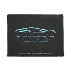 Luxury Car logo - Ice Blue Sports Car on black Doormat