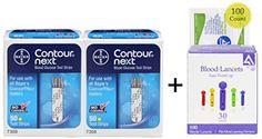 Bayer Contour NEXT Test Strips 100 + 100 30g Lancets + 100 Alcohol Pads