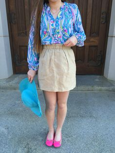 Preppy Spring featuring a Lilly Pulitzer top and a J crew skirt