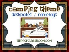 CAMPING THEME NAMEPLATES-classroom theme {printables). This product is also available as part of my CAMPING THEME CLASSROOM DECOR BUNDLE which includes 12 different camping classroom theme decor/management product {125 printable pages}