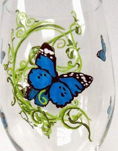 Butterfly Wine Glass  personalized wine glass by Pendragonartworks, $20.00