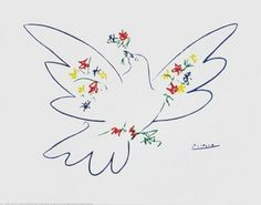 Picasso - Dove with flowers
