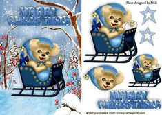 CUTE PUPPY IN A SLEIGH IN THE SNOW on Craftsuprint designed by Nick Bowley - CUTE PUPPY IN A SLEIGH IN THE SNOW, Makes a cute christmas card - Now available for download!