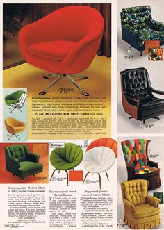 "Sear Catalog, Mid Mod Chair selections, 1968.  I don't think these would work, but the ""colonial"" chair of many colors is pretty interesting!"