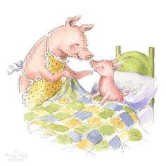 Good Morning, Piggy! - Watercolor Art Print - Nursery or Children's Room Pig Farm Animal Decor