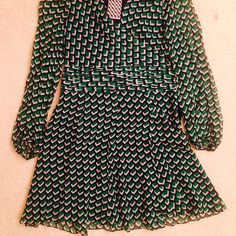 NWT DVF Wrap Dress New with original tags. Geometric print and green coloring. Ultra light and breezy! Diane von Furstenberg Dresses Long Sleeve
