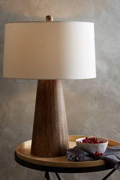 Wood Barrel Table Lamp