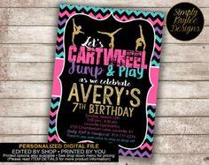 Azul paz amor gimnasia cumpleaños invitación fiesta de niño