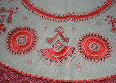 FolkCostume&Embroidery: Embroidery of the 'White' Kurpie, Mazowsze, Poland Polish Embroidery, Hungarian Embroidery, Folk Embroidery, Types Of Embroidery, Shirt Embroidery, Embroidery Stitches, Embroidery Patterns, Folk Clothing, Wedding Shirts