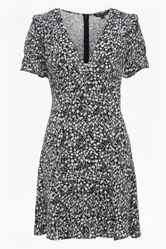 <ul> <li> Black and white floral-printed dress with frilled short sleeves</li> <li> Fabric: lightweight, slinky, lightly textured feel</li> <li> Low V-neckline</li> <li> Lined at body</li> <li> Concealed zip fastening along the back</li> <li> Waisted fit with gently flared skirt</li> <li> UK size 10 length is 91cm.</li> </ul>  <strong>Our model is 5ft 1...