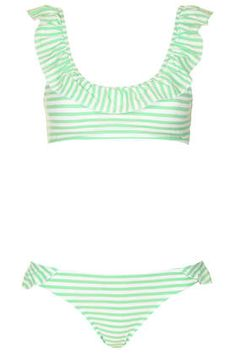 Apple Stripe Frill Crop Bikini - #topshop
