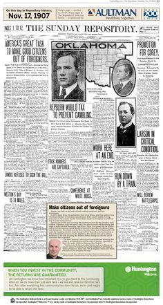 """Turning immigrants into """"good citizens"""" was front-page news in The Repository on Nov. 17, 1907."""