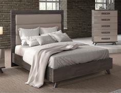 e0a4423b4058 ESF Gabrielle Gray Padded Headboard Queen Bed Contemporary Modern Made in  Italy (ESF-Gabrielle-Q) Buy online!