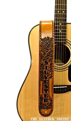Custom Designed Hand Tooled Leather Guitar by TheLeatherSmithy #PersonalizedGifts #Music #Acoustic #Electric #Guitars #CustomGuitarStraps #TheLeatherSmithy