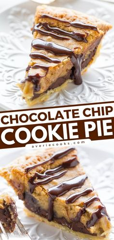 Get ready to sink your teeth into gooey perfection! With a filling that tastes like the center of an underbaked chocolate chip cookie, this pie recipe is better than that of Nestle Toll House. Give this dessert idea a try! Easy Chocolate Desserts, Easy Desserts, Delicious Desserts, Dessert Recipes, Yummy Food, Cream Pie Recipes, Pear Recipes, Favorite Cookie Recipe, Best Cookie Recipes