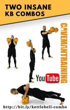 A great kettlebell combo for fighters. You got your heavy pull, hip extension, hip flexion, coming low to the ground, and explosive push to come back up and repeat. Plyometric Workout, Bum Workout, Toning Workouts, At Home Workouts, Walking Workouts, Workout Men, Nova, Muscle Fitness, Men's Fitness