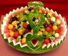fruit salad in watermelon basket   Fruit Salad in a Cute Watermelon Basket