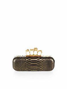 Alexander McQueen Python Knuckle Box Clutch