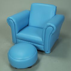 This adorable blue armchair and ottoman set by Gift Mark would be perfect in your child's room! Give him or her a chair that's just their size with this blue vinyl-upholstered set. The dimensions are x 18 x 17 Seat Height Kids Lounge Chair, Kids Sofa, Lounge Chairs, Toddler Sofa, Personalized Kids Chair, Kids Playroom Furniture, Patchwork Chair, Storage Chair, Chair And Ottoman Set
