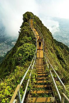 At we slipped past the guard and began to climb The Stairway To Heaven Oahu, Hawaii. It is one of the wonders of the world and my favorite hike on Oahu! Oahu Hawaii, Kauai, Hawaii Vacation, Travel To Hawaii, Hawaii Honeymoon, Hawaii 2017, Visit Hawaii, Beach Travel, Places