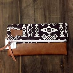 Dark Brown and Ivory Aztec Foldover Clutch