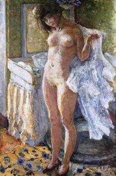 Pierre Bonnard - Dans le Cabinet de Toilette or Jeune Fille S'essuyant, 1907
